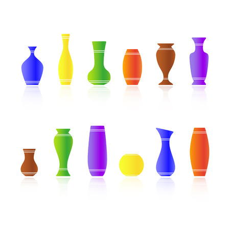 vases: Set of silhouettes of vases isolated on white background. Vector