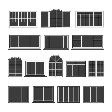 Set of silhouettes windows isolated on a white background. Vector illustration