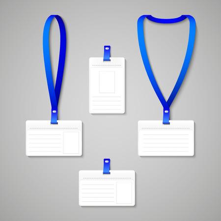 lanyard: Cord�n con Holder etiqueta de la divisa aislado en gris. Ilustraci�n vectorial