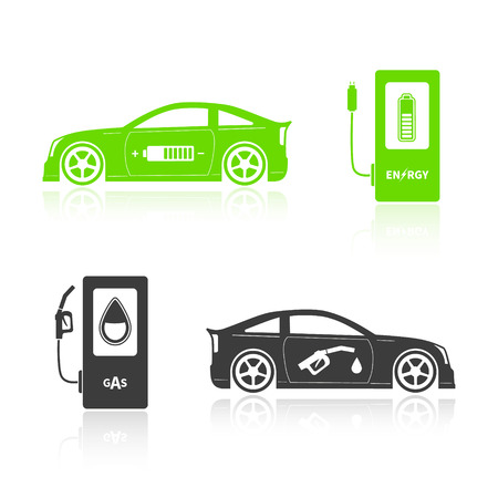 oncept: Car silhouettes isolated on white background. Gas car and eco car.  Ð¡oncept alternatives. Vector illustration