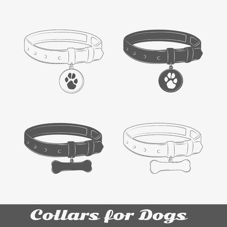 fetish: Silhouette collars for dogs. Isolated items. Vector illustration