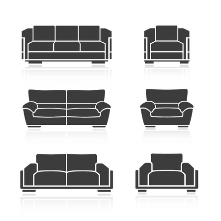 ergonomics: A set of sofas and armchairs on a white background. Vector