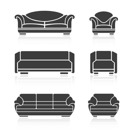 armchairs: A set of sofas and armchairs on a white background. Vector