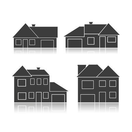 Set of black silhouettes cottages isolated on white background. Vector Illustration Vector