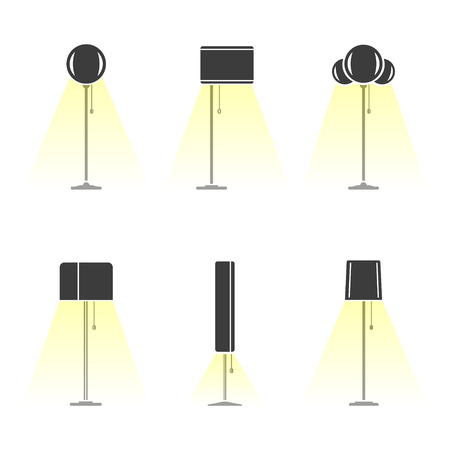 emitting: Set of silhouettes of lamps emitting light. Vector Illustration