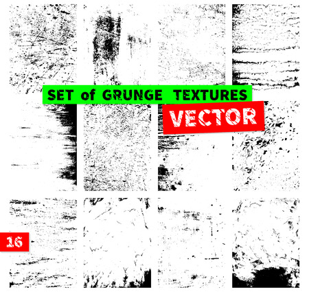 black grunge background: Set of grunge textures in a single file. Vector illustration