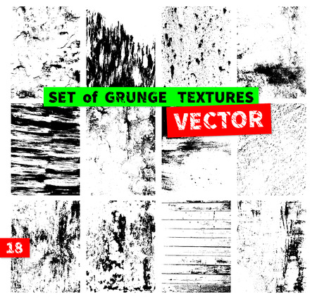 canvas art: Set of grunge textures in a single file. Vector illustration