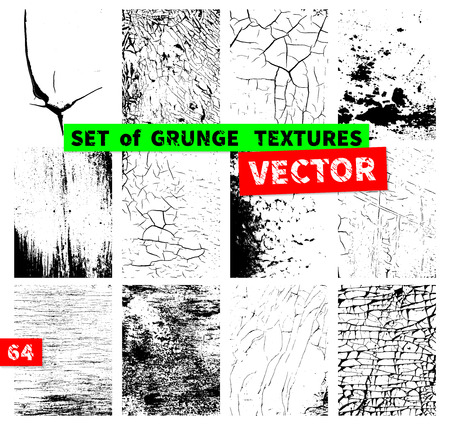 grunge background: Set of grunge textures in a single file. Vector illustration