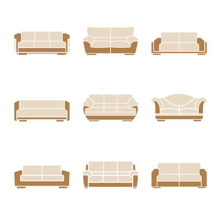 ergonomie: Set aus stilvollen Sofas auf wei�em Hintergrund. Vektor Illustration