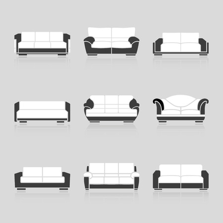 ergonomics: A set of black and white sofas on a white background. Vector