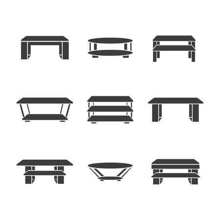 metal legs: Set of tables on a white background. Vector