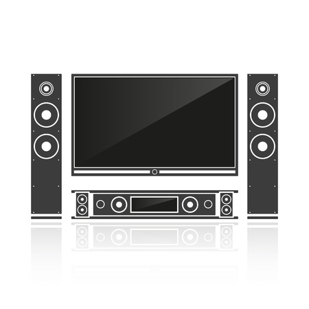 home cinema: Silhouette home cinema isolated on a white background. Vector illustration