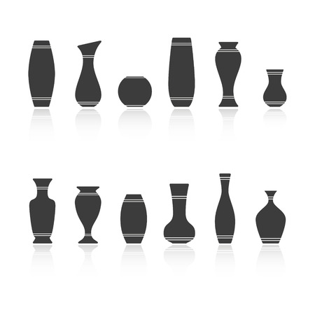 Set of silhouettes of vases isolated on white background. Vector Vector
