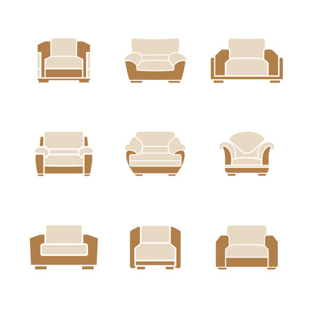 ergonomics: A set of stylish armchairs on a white background. Vector Illustration