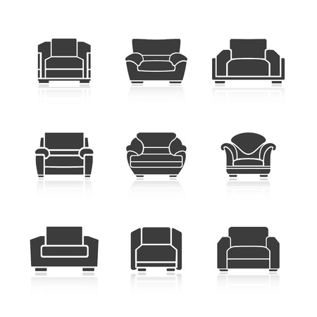 armchairs: A set of black armchairs on a white background. Vector
