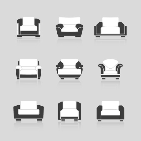 armchairs: A set of black and white armchairs on a white background. Vector