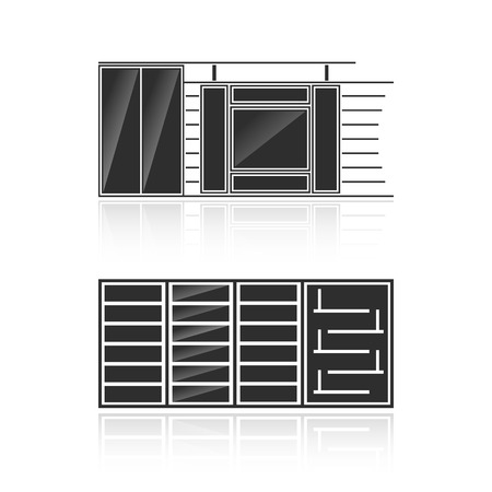 Set of black silhouettes of cupboards isolated on white background. Vector illustration Vector