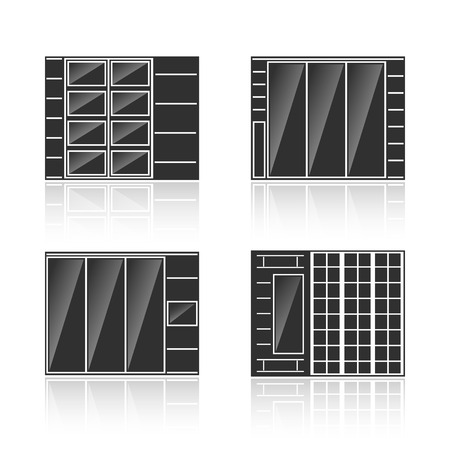 cupboards: Set of black silhouettes of cupboards isolated on white background. Vector illustration Illustration