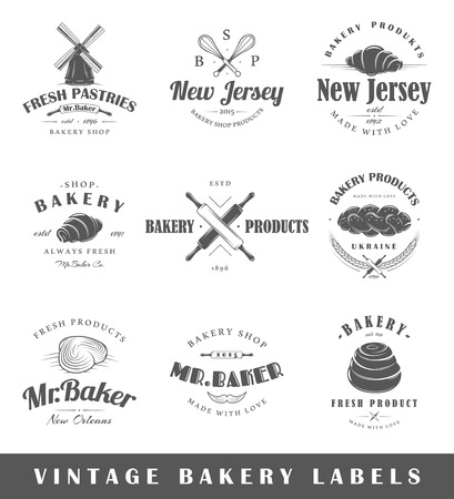 Set of vintage bakery labels. Posters stamps banners and design elements illustration