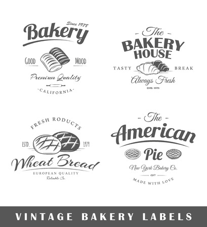 Set of vintage bakery labels. Posters stamps banners and design elements. Vector illustration Vector