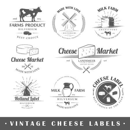 latte fresco: Insieme dei contrassegni formaggio vintage. Poster francobolli bandiere ed elementi di design. Illustrazione vettoriale