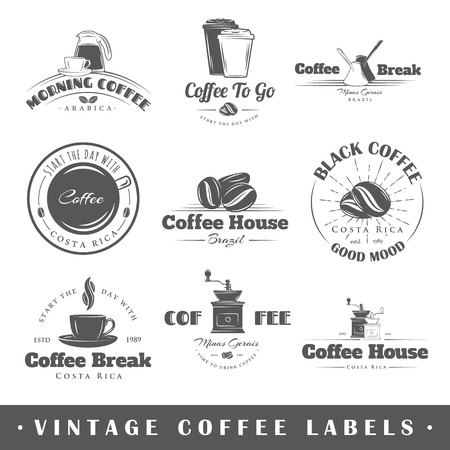 Set of vintage coffee labels. Posters stamps banners and design elements. Vector illustration Illustration