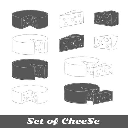 Ensemble de silhouettes fromage isolé sur un fond blanc. Vector illustration