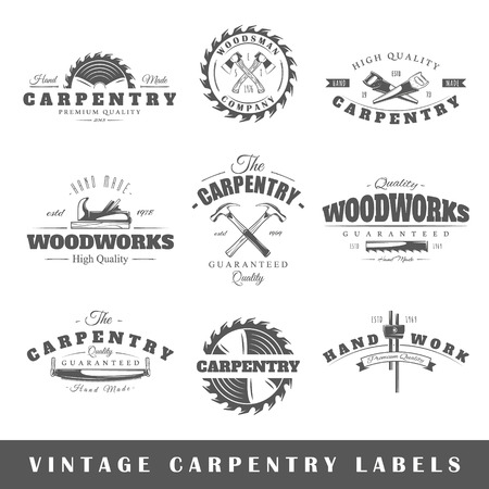 tool: Set of vintage labels carpentry. Posters, stamps, banners and design elements. Vector illustration