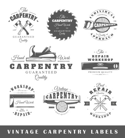 chisel: Set of vintage labels carpentry. Posters, stamps, banners and design elements. Vector illustration