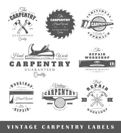Zestaw starych etykiet stolarki. Plakaty, znaczki, banery i elementy projektu. Ilustracji wektorowych Ilustracje wektorowe