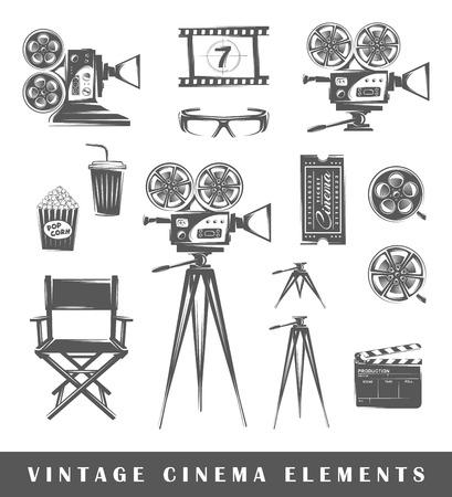 palomitas: Elementos de la vendimia de cine: proyector, película, gafas 3D, cámara, palomitas de maíz, trípode, bebidas, entradas, silla, claqueta, tira de película. Conjunto de siluetas de una película, aislado en un fondo blanco