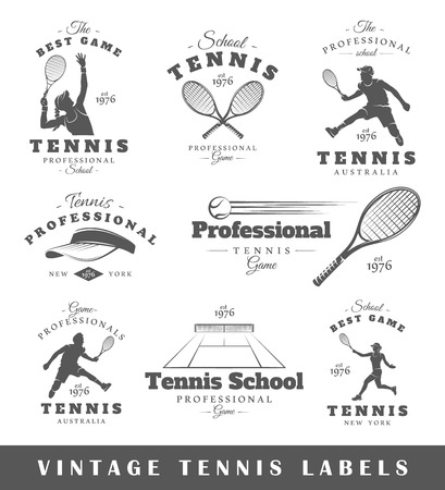 tennis: Set of vintage tennis labels. Posters, stamps, banners and design elements. Vector illustration