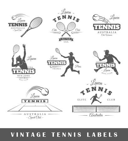 Conjunto de etiquetas de tenis de la vendimia. Carteles, sellos, carteles y elementos de diseño. Ilustración vectorial Foto de archivo - 43765011