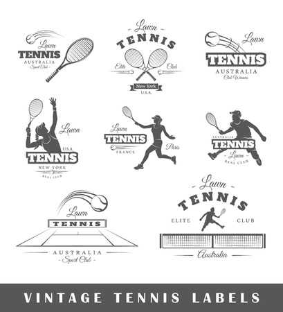 banner craft: Set of vintage tennis labels. Posters, stamps, banners and design elements. Vector illustration