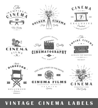 movie camera: Set of vintage cinema labels. Posters, stamps, banners and design elements. Vector illustration