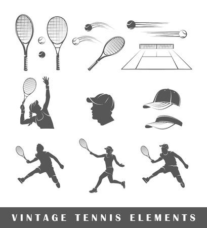 TENIS: Elementos de la vendimia de tenis: la raqueta, pelota, tenis, red, actitud, golpe, cap. Conjunto de siluetas de tenis aisladas en el fondo blanco Vectores
