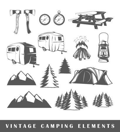 Vintage Camping elements: mountain, camp, tent, table, wood, forest, axe, style, fire, compass, bench, lantern. Set camping silhouettes isolated on white background