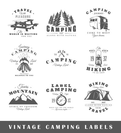 Set of vintage camping labels. Posters, stamps, banners and design elements. Vector illustration