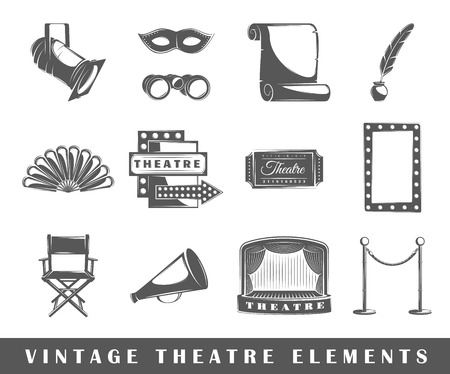 mascaras de teatro: Conjunto de elementos del teatro. Elementos del teatro aislados en blanco.