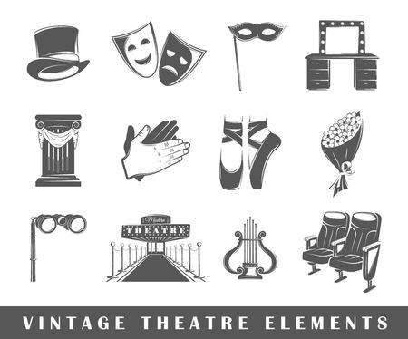teatro: Conjunto de elementos del teatro. Elementos del teatro aislados en blanco.