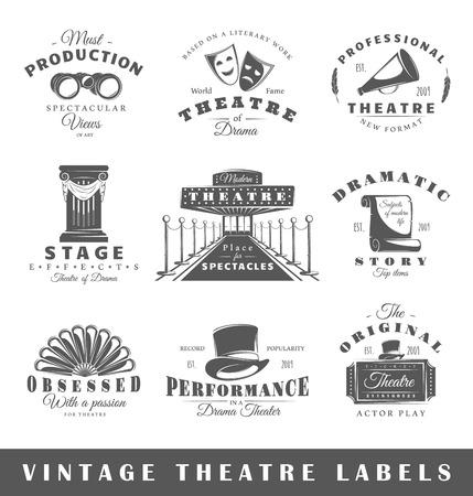 Conjunto de etiquetas de teatro. Elementos para el diseño sobre el tema del teatro. Colección de símbolos teatrales: máscara, boleto, binoculares. Etiquetas modernas de teatro. Ilustración de vector