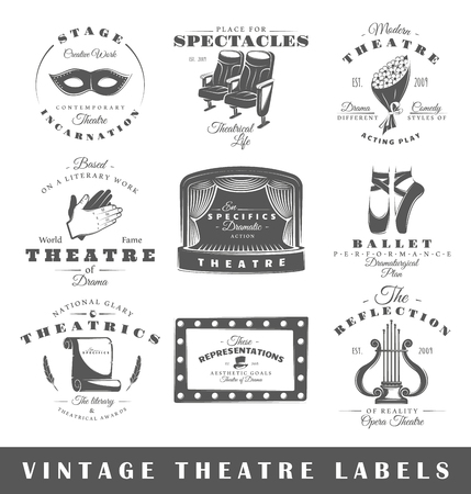 Set of theatre labels. Elements for design on the theatre theme. Collection of theatre symbols: stage, mask, curtain. Modern labels of theatre.  イラスト・ベクター素材