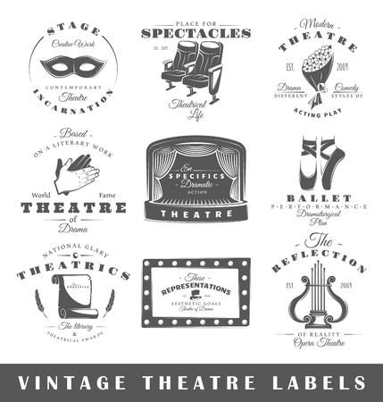 Conjunto de etiquetas de teatro. Elementos para el diseño sobre el tema del teatro. Colección de símbolos de teatro: etapa, máscara, cortina. etiquetas modernas del teatro.
