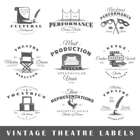 mascara de teatro: Conjunto de etiquetas de teatro. Elementos para el diseño sobre el tema del teatro. Colección de símbolos de teatro: etapa, máscara, cortina. etiquetas modernas del teatro. Vectores