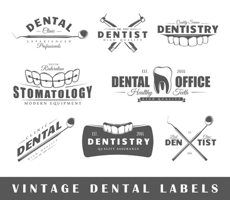 a dentist: Set of dentist labels. Elements for design on the dentist theme. Collection of dentist symbols: tooth, jaw, dental tools. Modern labels of dentist. Illustration