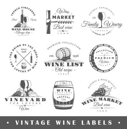 Set d'étiquettes de vin. Elements for design sur le thème du vin.