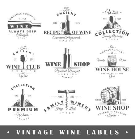 vino: Conjunto de etiquetas de vino. Elementos para el diseño sobre el tema del vino. Vectores