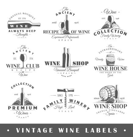 glass with red wine: Set of wine labels. Elements for design on the wine theme.