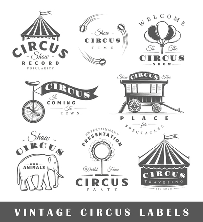 Set of circus labels