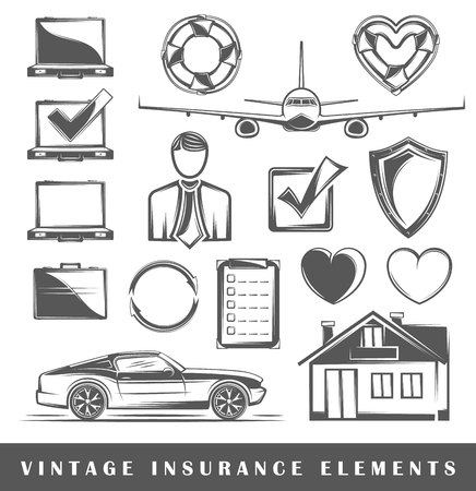 insurance claim: Collection vector elements for design insurance. Design elements. Insurance icons isolated on white background. Elements of insurance for logo design. Vector illustration